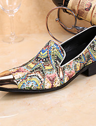 Men's Loafers & Slip-Ons Spring Fall Comfort Novelty Formal Shoes Leather Wedding Office & Career Party & Evening Walking Flat Heel Flower