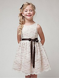 cheap -Ball Gown Short / Mini Flower Girl Dress - Organza Sleeveless Jewel Neck with Ribbon by YDN