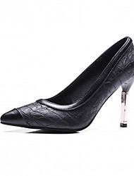 cheap -Women's Shoes Leatherette Spring / Fall Comfort Heels Stiletto Heel Pointed Toe Black / Burgundy / Party & Evening / Dress