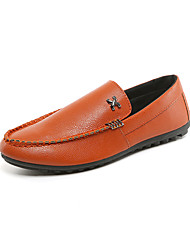 cheap -Men's Light Soles Faux Leather Spring / Fall Comfort Loafers & Slip-Ons Walking Shoes Black / Orange / Navy Blue / Beading / Square Toe