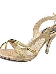 cheap -Women's Heels Toe Ring PU Summer Casual Toe Ring Rhinestone Stiletto Heel Silver Champagne 2in-2 3/4in