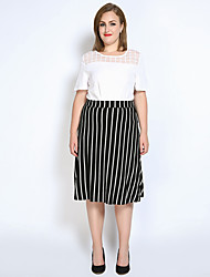cheap -Really Love Women's Party Daily Work Going out Club Holiday Midi Skirts,Vintage Casual Sexy A Line Poly-Cotton Knit Striped Spring Summer Fall