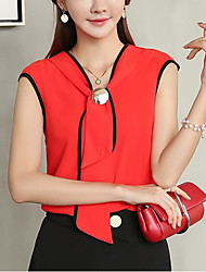 cheap -Women's Daily Cute Casual Spring Summer Blouse,Solid V Neck Sleeveless Polyester Medium