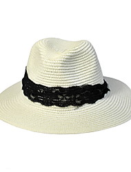 cheap -Lace Summer Straw Hat Cap Round Wide Brim Hawaii Folding Soft Sun Hat Casual Foldable Brimmed Beach Hats For Women
