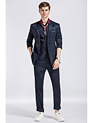 cheap -Royal Blue Patterns Slim Fit Polyester Viscose Suit - Notch Single Breasted One-button