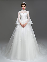 cheap -A-Line Illusion Neckline Cathedral Train Organza Wedding Dress with Beading Sequin Appliques Flower by LAN TING BRIDE®