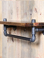cheap -Towel Racks & Holders Country Wool Industrial Pipe Shelf Shelving Pine Wood and Pipe Towel Rack