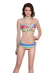 abordables -Femme Rayé Bandeau Bikinis Maillots de Bain Géométrique Blocs de Couleur Arc-en-ciel