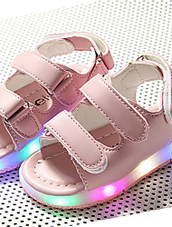 Kids Boys Girls' Sandals Summer Light Up Shoes First Walkers Luminous Shoe Linen Outdoor Athletic Casual Low Heel Magic Tape LED Khaki Blushing Pink