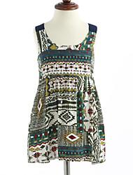 cheap -Girl's Lattice Dress, Cotton Summer Sleeveless Floral Green