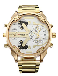 cheap -Men's Sport Watch / Military Watch / Wrist Watch Calendar / date / day / Dual Time Zones / Cool Stainless Steel Band Luxury / Vintage / Casual Gold