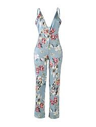 abordables -Femme Combinaison-pantalon - Dos Nu, Fleur V Profond