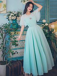 One-Piece/Dress Sweet Lolita Vintage Inspired Elegant Princess Cosplay Lolita Dress Cyan Lace Vintage Bell Short Sleeves Ankle-length
