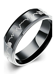 cheap -Women's Titanium Steel Band Ring - Round Bridal / Fashion / Simple Style Black Ring For Christmas Gifts / Wedding / Party