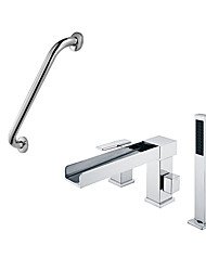 Contemporary Art Deco/Retro Modern Tub And Shower Waterfall Handshower Included with  Ceramic Valve Single Handle Three Holes for  Chrome