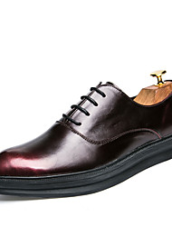 Masculino sapatos Pele Primavera Outono Solados com Luzes Oxfords Caminhada Combinação Para Casual Preto Vermelho