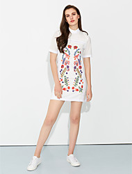 Women's Boho|Embroidery Casual/Daily Simple Sheath DressEmbroidered Crew Neck
