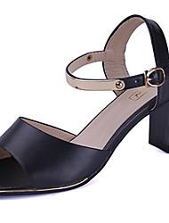 economico -Da donna Sandali Comoda PU (Poliuretano) Estate Casual Footing Comoda Più materiali Basso Bianco Nero 5 - 7 cm