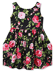 cheap -Girl's Floral Fashion Dress, Cotton Summer Sleeveless Floral Bow Green