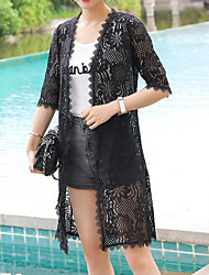 cheap -Women's Daily Going out Beach Simple Cute Casual Sexy Summer Jacket,Solid Peter Pan Collar Half Sleeves Long Others