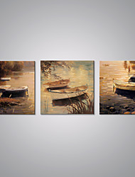 cheap -Stretched Canvas Print Landscape European Style, Three Panels Canvas Horizontal Print Wall Decor Home Decoration