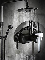 cheap -Antique Centerset Rain Shower Ceramic Valve Three Holes Single Handle Three Holes Oil-rubbed Bronze , Shower Faucet