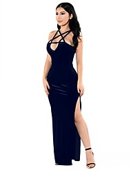 Women's Deep V Plus Size Solid Strap Party Club Sexy Cut Out Bodycon Sleeveless Split Maxi Dress