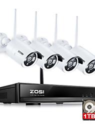 Недорогие -zosi®960p / 720p HDMI NVR 1TB HDD 4шт 1,3 МП ИК открытый p2p беспроводная IP-видеонаблюдения Комплект системы безопасности камеры