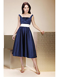 A-Line Princess Straps Tea Length Satin Bridesmaid Dress with Draping Sash / Ribbon by LAN TING BRIDE®