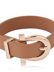 Жен. Кожаные браслеты Мода Кожа Сплав Белый Черный Коричневый Бижутерия Для Для вечеринок 1 шт.