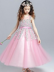 Ball Gown Tea Length Flower Girl Dress - Organza Sleeveless Jewel Neck with Pearl by YDN
