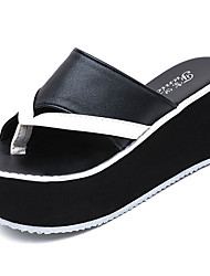 cheap -Women's Shoes PU Summer Creepers Slippers & Flip-Flops Wedge Heel Creepers Round Toe Split Joint For Casual White Black