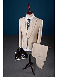 cheap -Beige Solid Color One-Button Closure collar Linen Three-Pieces Tailored Fit Suit For Party/Evening