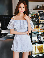 DABUWAWA Women's High Rise Going out Casual/Daily Holiday RompersSexy Vintage Street chic Slim Wide Leg Lace Ruffle Solid