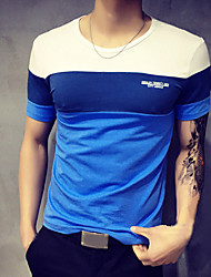 cheap -Men's Daily Sports Plus Size T-shirt,Color Block Patchwork Short Sleeves Cotton