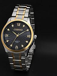 baratos -CHENXI® Homens Relógio Elegante Quartzo Quartzo Japonês Impermeável Relógio Casual Aço Inoxidável Banda Amuleto Preta