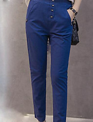 Women's Mid Rise Micro-elastic Chinos Pants,Simple Slim Solid