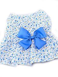 Недорогие -Собака Платья Одежда для собак Цветы Лиловый Синий Розовый Хлопок Костюм Для домашних животных Жен. На каждый день Мода