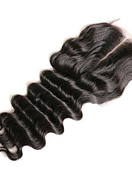 Недорогие -Свободные волны Классика 4x4 Закрытие Швейцарское кружево Натуральные волосы Бесплатный Часть Средняя часть 3 Часть Высокое качество