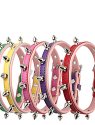 cheap -Dog Collar Adjustable / Retractable Waterproof Safety Solid PU Leather Genuine Leather Coffee Red Green Blue Pink