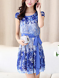 Women's Plus Size Slim A Line Chiffon Dress Print Bow Round Neck Above Knee Short Sleeve Puff Sleeve Blue