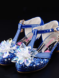 cheap -Girls' Shoes Glitter / Leatherette Summer / Fall Comfort / Novelty / Flower Girl Shoes Wedding Shoes Walking Shoes Crystal / Bowknot / Buckle for Silver / Blue / Pink / Party & Evening