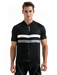 Cycling Jersey Unisex Short Sleeves Bike Sweatshirt Jersey Tops Breathable Back Pocket Sweat-wicking Polyester Classic Summer Racing