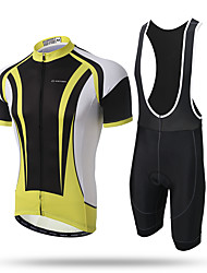 cheap -XINTOWN Men's Short Sleeves Cycling Jersey with Bib Shorts - Yellow Animal Bike Bib Tights Jersey, Quick Dry, Breathable, Sweat-wicking,