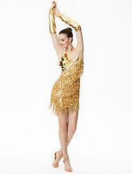 devons-nous latin danse robes femmes performance robe gants style élégant
