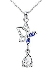 Femme Pendentif de collier Colliers chaînes Zircon cubique Forme Géométrique Zircon Cuivre Plaqué argent Basique Original Pendant Cœur