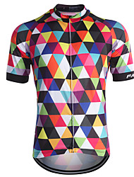 Fastcute Cycling Jersey Men's Short Sleeves Bike Jersey Top Quick Dry Front Zipper Breathable Sweat-wicking Back Pocket Coolmax 100%