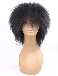 billige -Syntetiske parykker Krøllet Syntetisk hår Afro-amerikansk paryk Sort Paryk Dame Medium Længde Lågløs Sort