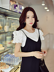 DABUWAWA Women's Going out Casual/Daily Holiday Simple Street chic Sophisticated Summer T-shirtSolid Round Neck Short Sleeve Cotton SpandexOpaque