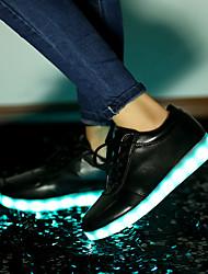 Masculino-Tênis-Solados com Luzes Light Up Shoes-Rasteiro-Branco Preto-Courino-Casamento Ar-Livre Escritório & Trabalho Social Casual